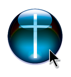 Logo of the SimChurch book - a cross and a cursor